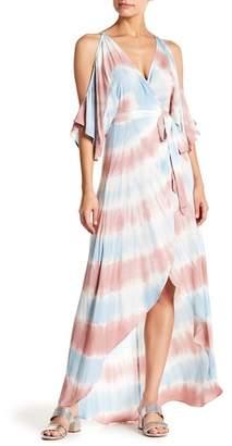 AAKAA Tie Dye Cold Shoulder Wrap Tie Maxi Dress