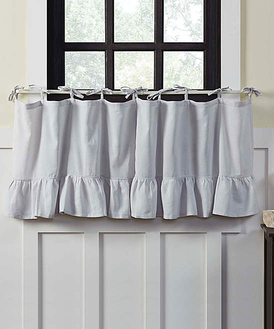 Gray Ellie Cotton Tie-Top Tier Curtain – Set of Two