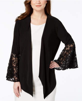 R & M Richards Lace Bell-Sleeve Cardigan