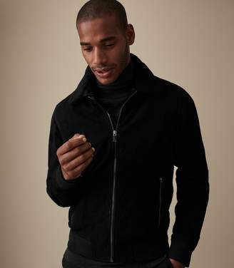 Reiss RIVER SUEDE BOMBER WITH DETACHABLE COLLAR Black