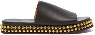Chloé Beaded Flatform Leather Slides - Womens - Black