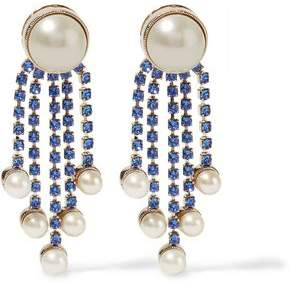 Valentino Gold-Plated Faux Pearl And Crystal Earrings