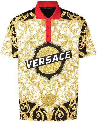 Versace baroque printed polo shirt