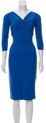 Chiara Boni Quarter-Sleeve Sheath Dress Blue Quarter-Sleeve Sheath Dress