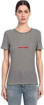 Saint Laurent Striped Logo Embroidered Jersey T-Shirt