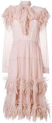 Blumarine scarf neck feather dress