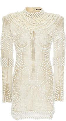 Balmain High Neck Pearl Dress