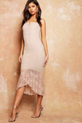 boohoo Lace Flute Hem Bandeau Midi Dress