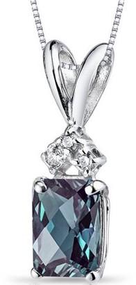 "Oravo 1.25 Carat T.G.W. Radiant-Cut Created Alexandrite Diamond Accent 14kt White Gold Pendant, 18"""