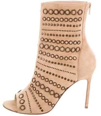Manolo Blahnik Peep-Toe Ankle Boots