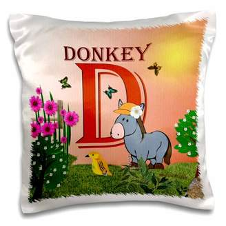 3dRose Decorative Animal Alphabet Art for children - D is for a Donkey in the flower garden - Pillow Case, 16 by 16-inch