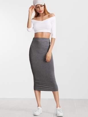 e676a9d56f Shein Heather Grey Elastic Waist Jersey Pencil Skirt