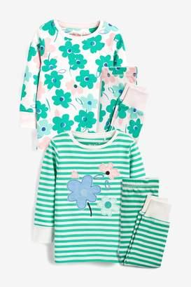Next Girls Green/Ecru 2 Pack Flower Snuggle Pyjamas (9mths-8yrs) - Green