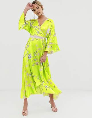 Liquorish kimono midi dress in yellow floral print
