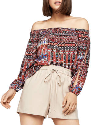 BCBGeneration Off-The-Shoulder Geometric-Print Blouse