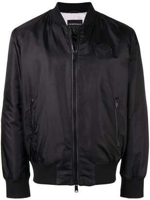 Emporio Armani leather logo patch bomber jacket