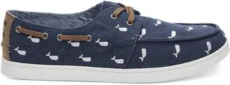 Toms OCEANA Washed Canvas Embroidered Whale Men's Culver Boat Shoes