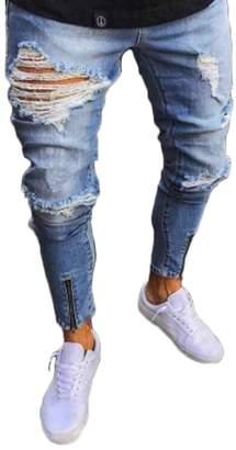 SOMTHRON Men's Slim Distressed Jeans Ripped Hip Hop Pants Designer Jeans Plus Size(LB-L)