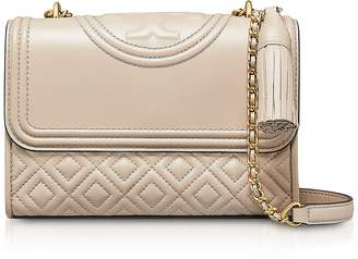 Tory Burch Light Taupe Leather Fleming Small Convertible Shoulder Bag