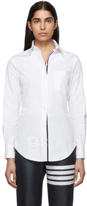 Thom Browne White Poplin Point Collar Classic Shirt