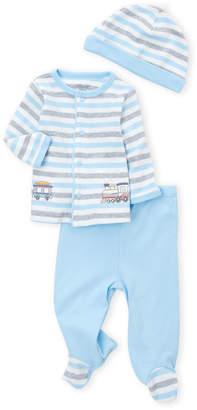 Little Me Newborn Boys) 3-Piece Train Cardigan, Footie Pants & Cap Set