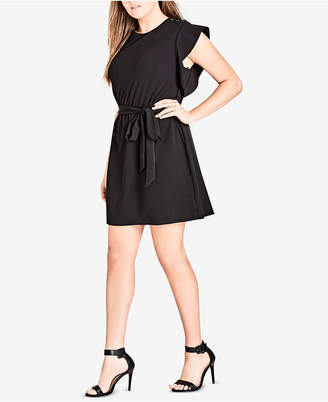 City Chic Trendy Plus Size Flutter-Sleeve Tunic Dress