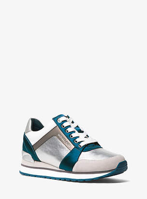 Michael Kors Billie Metallic Leather And Satin Sneaker