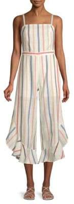 Red Carter Everly Striped Ruffle Cotton Jumpsuit