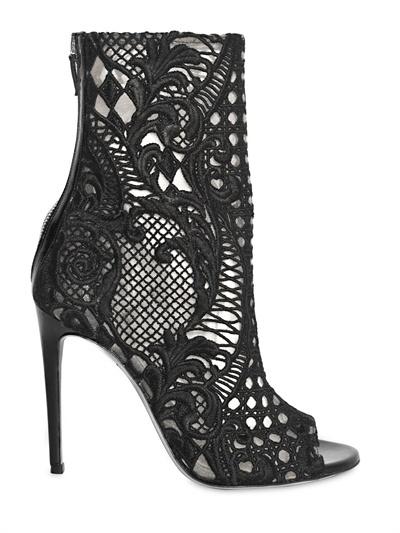 Balmain 110mm Guipure Lace Open Toe Boots