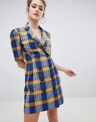 Bershka check blazer dress in blue