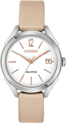 Citizen Drive From Eco-Drive Women's Beige Leather Strap Watch 34mm