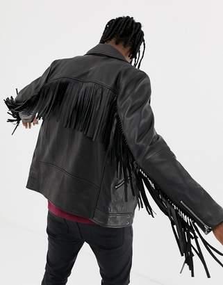 Asos Design DESIGN leather biker jacket with tassel detail in black