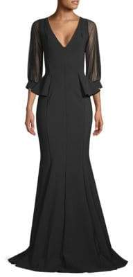 Chiara Boni Illusion-Sleeve Peplum Gown