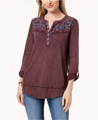 Style&Co. Style & Co Embroidered Cotton Roll-Tab-Sleeve Top, Created for Macy's