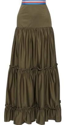 Stella Jean Ruffle-trimmed Cotton-blend Poplin Maxi Skirt