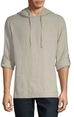 Saks Fifth Avenue BLACK Men's Long-Sleeve Linen Hoodie
