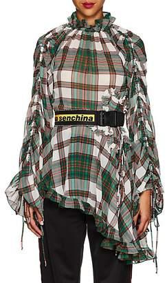 Marianna Senchina Women's Plaid Ruffled Asymmetric-Hem Blouse