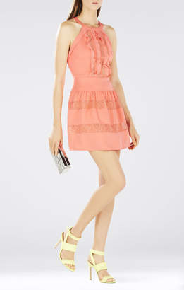 BCBGMAXAZRIA Katrine Halter Lace-Blocked Dress