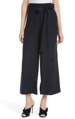 Rebecca Taylor Silk Jacquard Tie Waist Pants