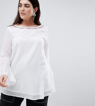 Koko Embroidered Blouse With Bell Sleeves