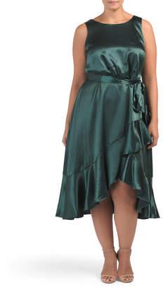 Plus Satin Dress With Ruffle Border