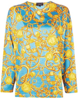 Gucci Pre-Owned chain pattern longsleeved blouse