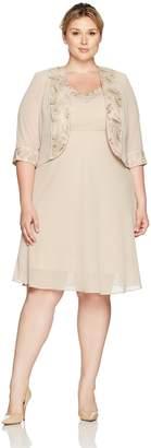fce533df3004e Le Bos Women s Plus Size Embroided Lapel a-Line Jacket Dress
