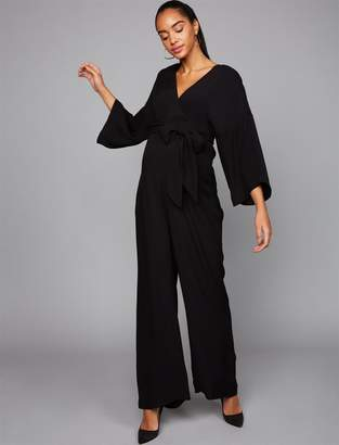 A Pea in the Pod Wide Sleeve Challis Maxi Maternity Jumpsuit