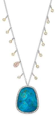 """Meira T 14K Yellow and White Gold Chrysocolla Doublet Necklace with Diamond Charms, 20"""""""