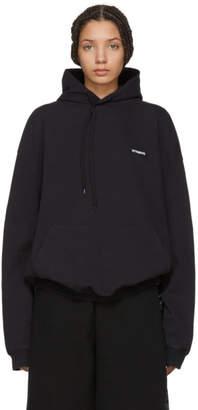 Vetements Black Embroidered Logo Hoodie