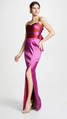 Marchesa Sleeveless Two Tone Stretch Mikado Gown