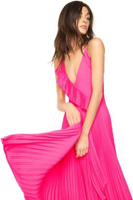 Milly MillyMilly Exclusive Stretch Silk Pleated Wrap Dress