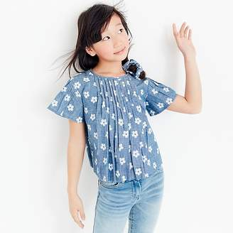 J.Crew Girls' pleated top in daisy-print chambray