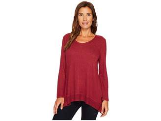 Tribal Long Sleeve V-Neck Tunic Women's Blouse